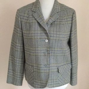 Vintage blue-yellow houndstooth blazer - perfect